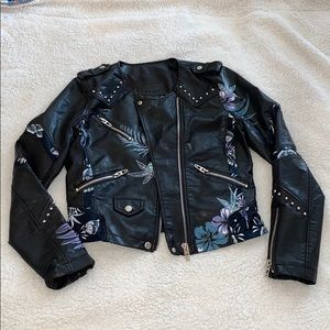 BLANK NYC vegan leather floral moto jacket NWOT